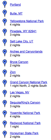 national parks road trip itinerary