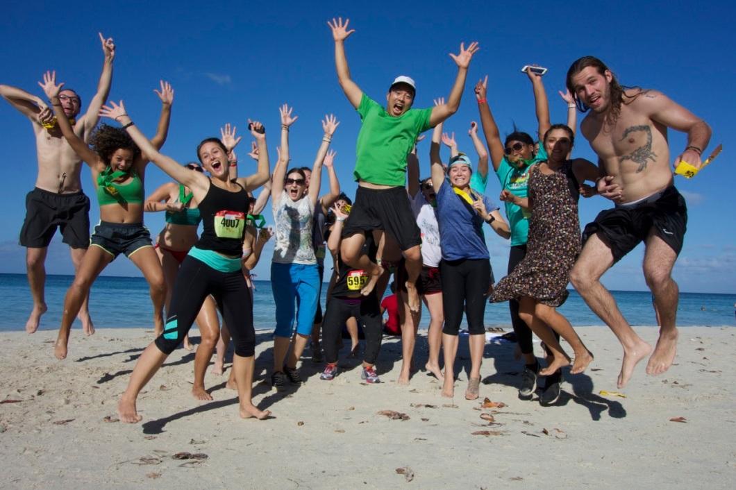 Celebrating after Reggae Marathon with Peace Corps Volunteers