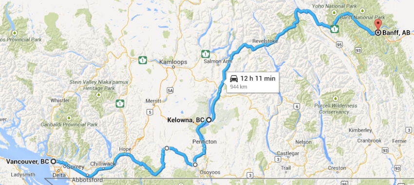Road trip route from Vancouver, Kelowna, Banff | Intentional Travelers