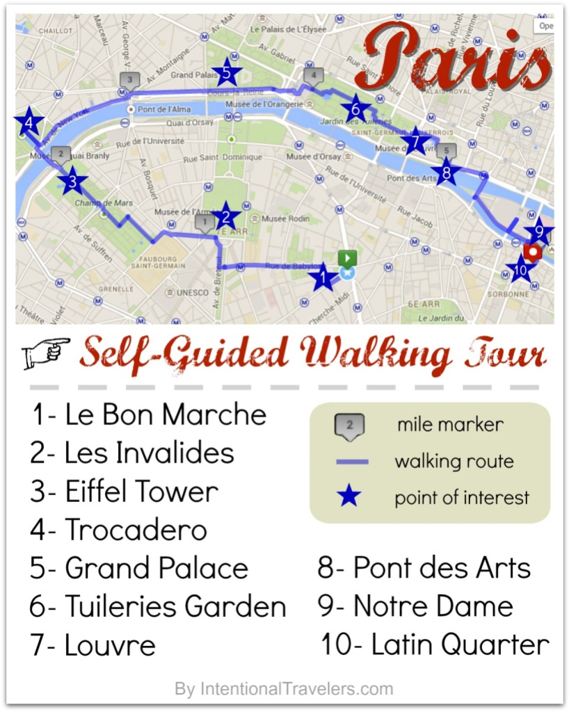 A Free Self-Guided Walking Tour Map for Paris, France   Intentional Travelers