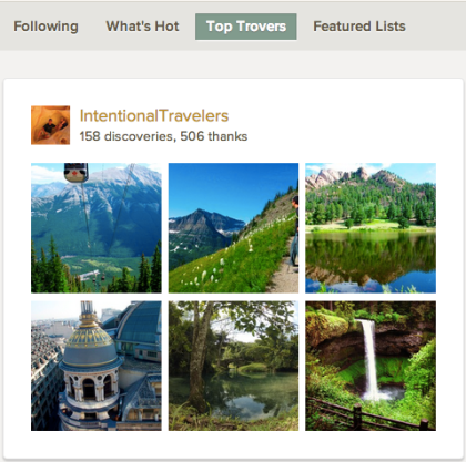 Featured List: Top Trovers - Intentional Travelers