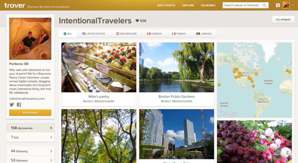 Trover Homepage for Intentional Travelers